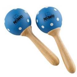 Holz Maracas Klein Blau mit Polka Dots NINO7PD-B Nino