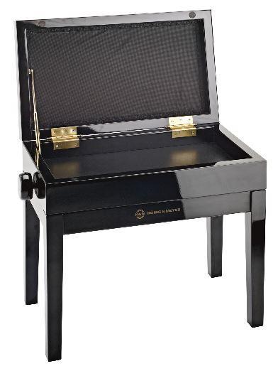 13950 Klavierbank mit Notenfach schwarz poliert Samt