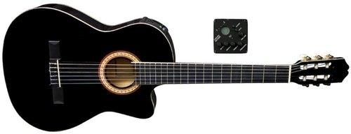 Schwarze Konzertgitarre mit Cutaway